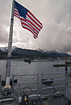 The Stars and Stripes flying over Juneau, Alaska.  Taken from the back deck of the Navy Warship USS Bunker Hill during a private tour on 5/17/2007.